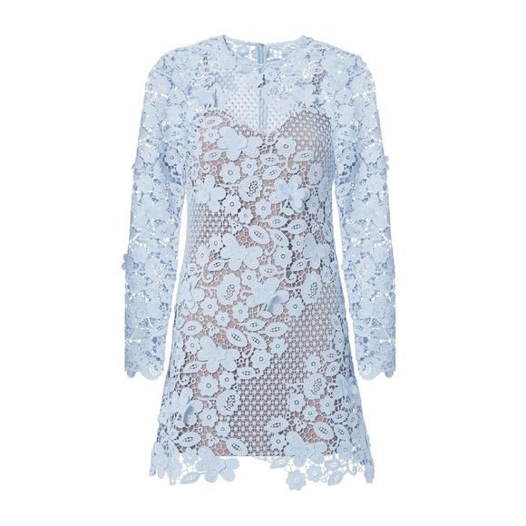 Self-Portrait Dresses & Skirts - SELF-PORTRAIT Blue 3D Floral Guipure Lace Mini